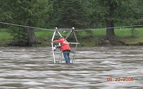 Selway River near Lowell, ID - USGS file photo - hydrographer Russ Christensen measuring high flows May 2008